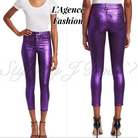 L'AGENCE Denim - NWT's L'Agence Fashion Purple Metallic Foil Jeans